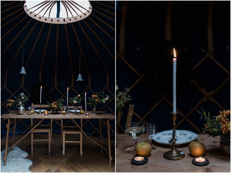 Winter Cotswolds winter wedding styling with wedding yurts with winter flowers and candles and a navy colour theme