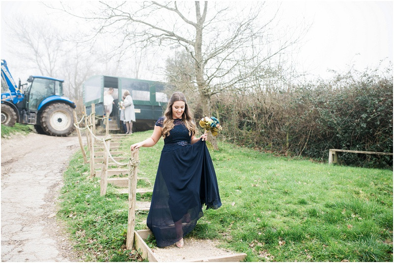 Bridesmaids in navy blue maxi dress for River Cottage wedding