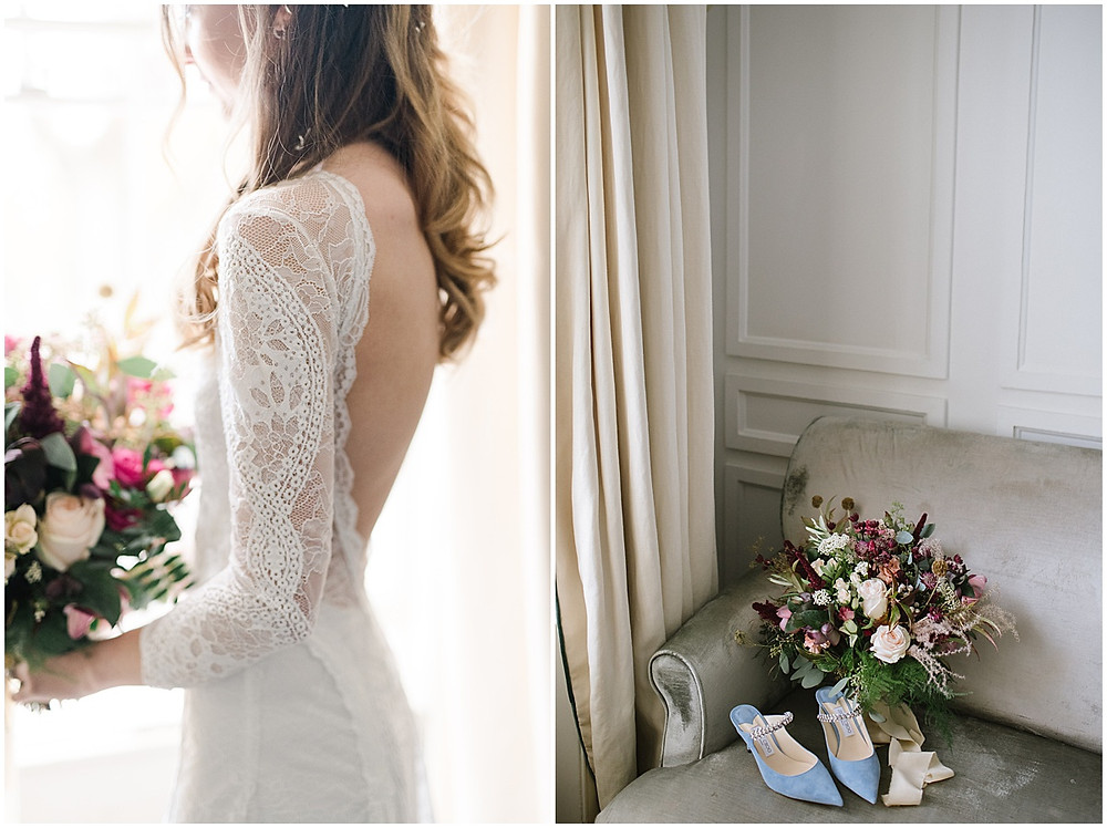 An intimate wedding at luxury wedding venue No131 Cheltenham with Jimmy Choo shoes and a Grace loves Grace dress