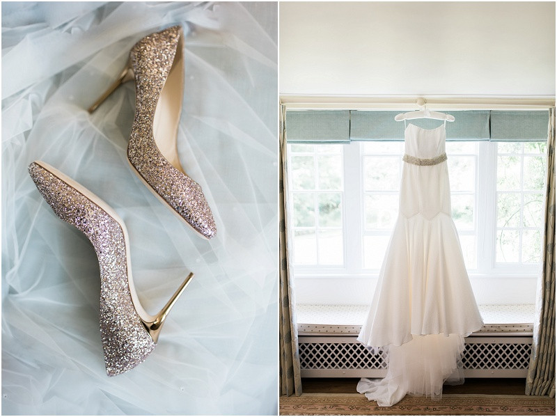 Jimmy Choo wedding shoes at Great Tythe Barn Cotswoldsw wedding venue for a black tie wedding