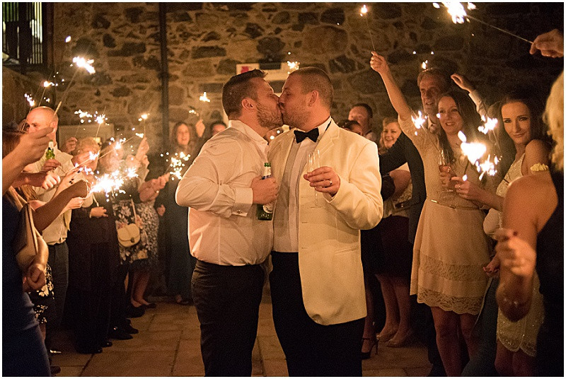 sparkler shot for a gay wedding at The Outbuildings, Llangollen, Anglesey