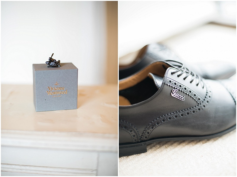 Vivienne Westwood cufflinks and Gucci shoes for a black and white gay wedding at The Outbuildings, Anglesey