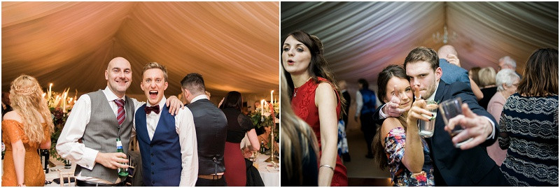 relaxed guest photos at boho Autumn marquee wedding HIlles House Cotswolds