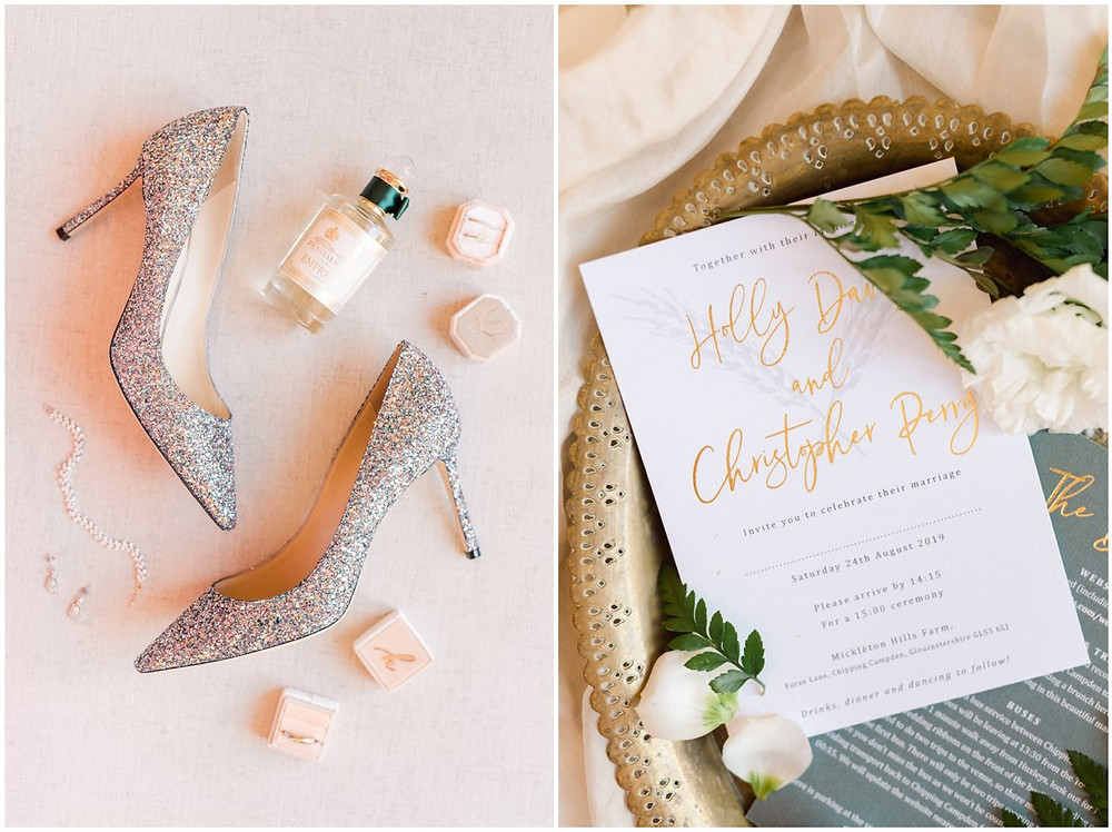 Bridal details flat lay for a Mickleton Hills Farm wedding