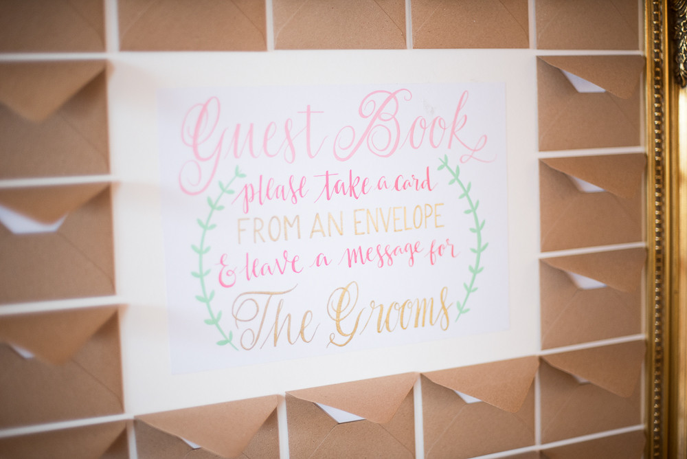 Gilt frame guest book with envelopes for guests messages