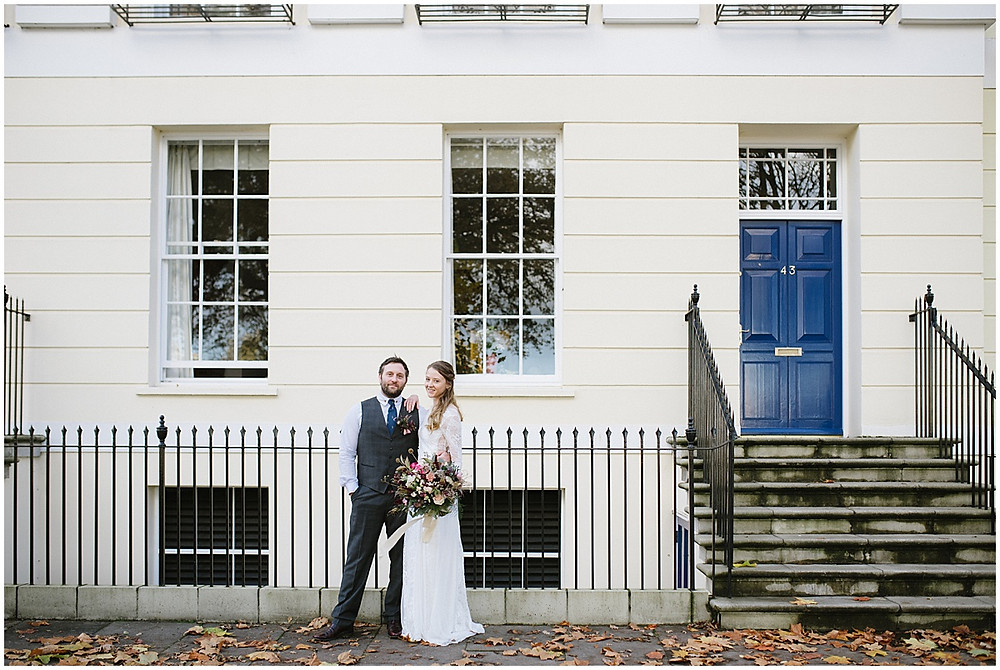 An intimate wedding at luxury wedding venue No131 Cheltenham with a Grace loves Grace dress