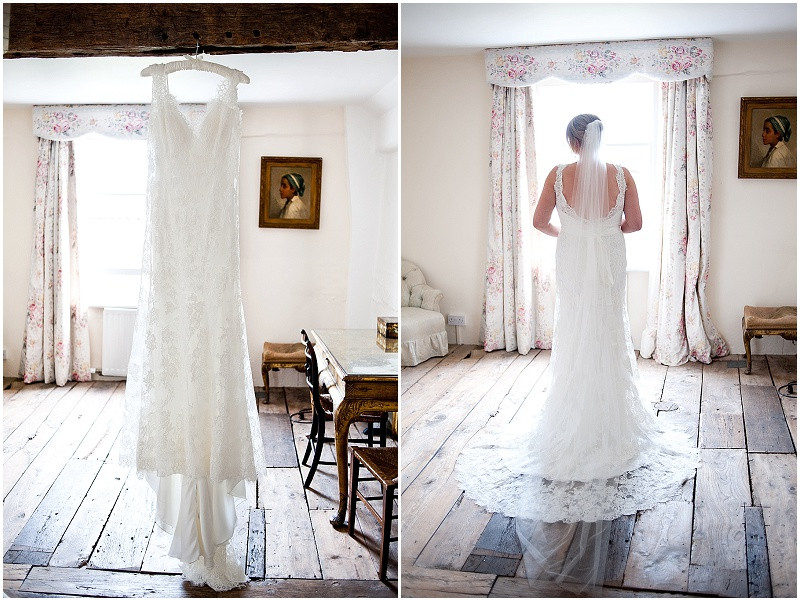 lace dress and bride at Lyde Court barn wedding venue