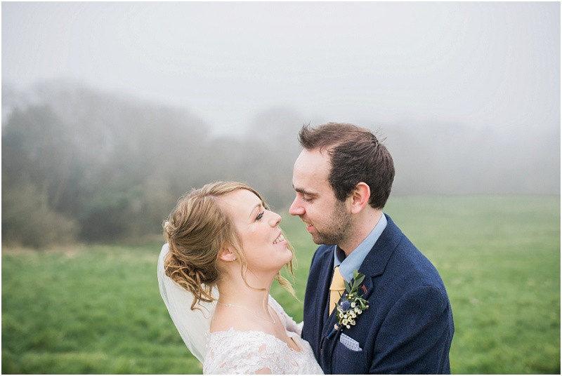 bride and groom at boho wedding at River Cottage