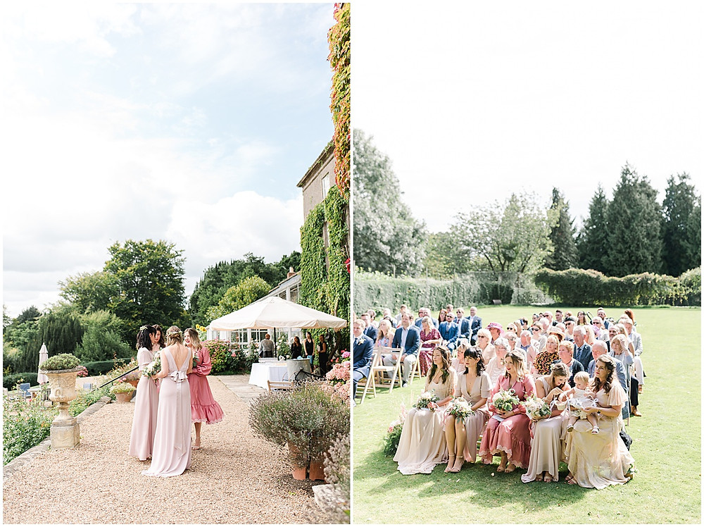 Find lots of luxury wedding inspiration in this dreamy bohemian summer wedding from a Pennard House Wedding Photographer with bridesmaids in mismatched pink silk dresses