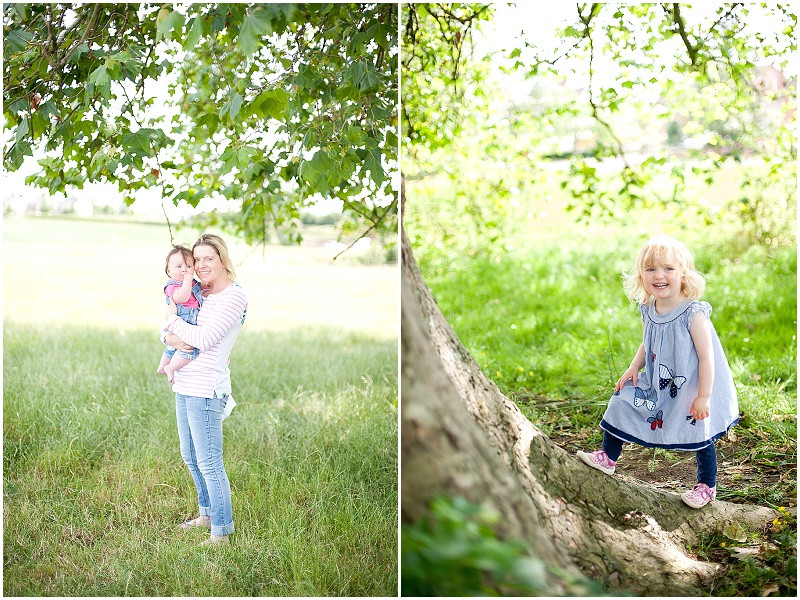 children outside for a family photo shoot in Gloucestershire in summer