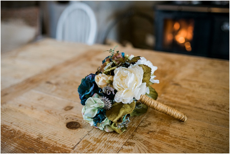 floral bouquet at River Cottage wedding
