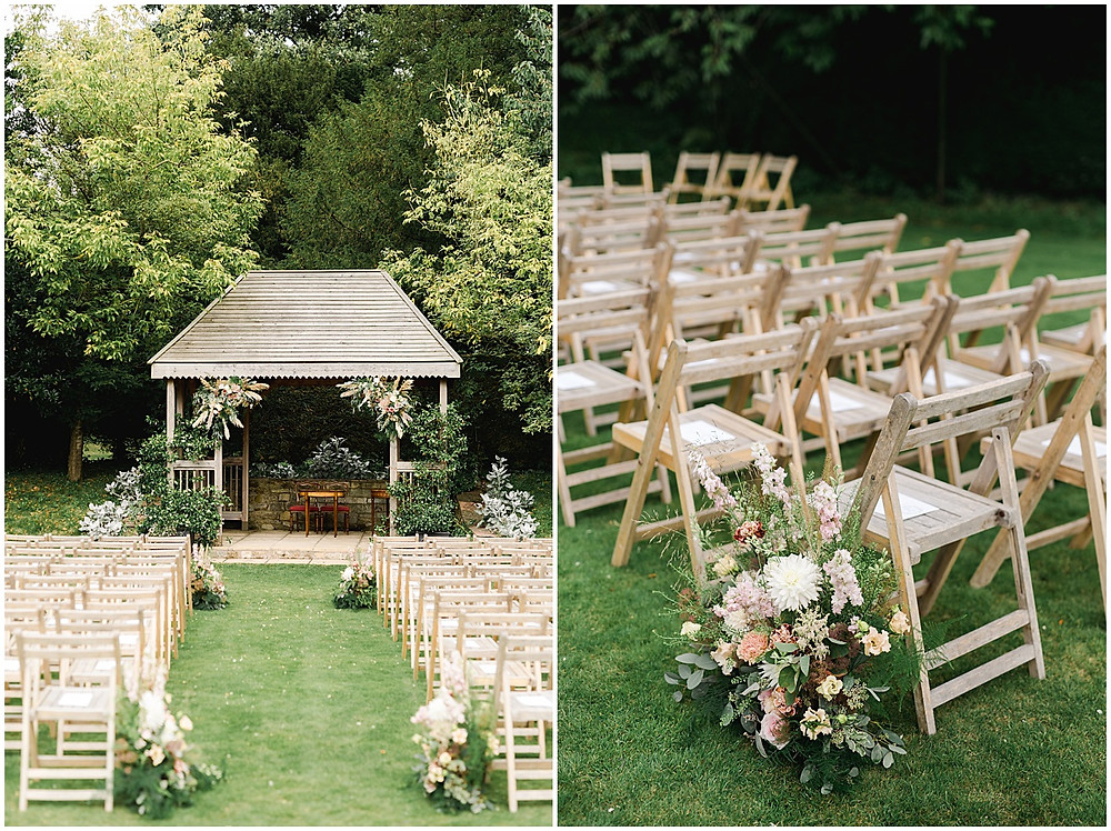 Find lots of luxury wedding inspiration in this dreamy bohemian summer wedding from a Pennard House Wedding Photographer with a stunning floral outdoor ceremony