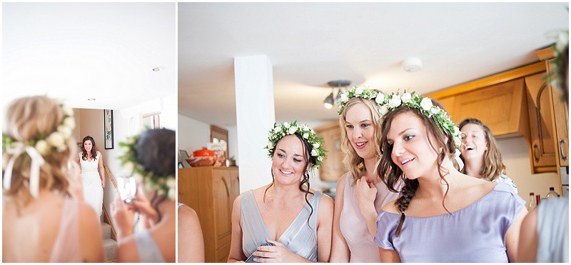 Boho bridesmaids in flower crowns and ghost bridesmaid dresses
