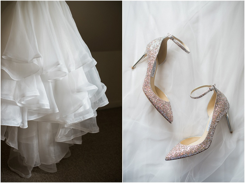 Essense of Australia dress and Jimmy Choo wedding shoes by Cotswolds weddin photographer at Blackwell Grange wedding
