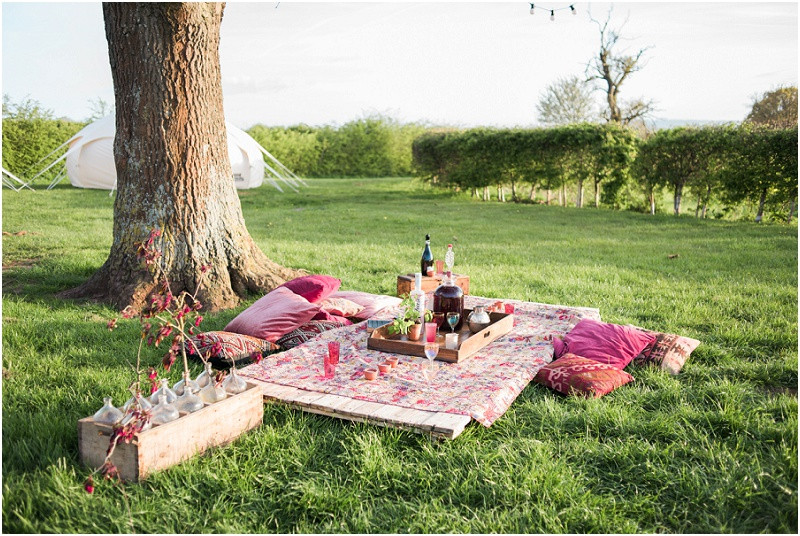 Eco friendly wedding yurt festival wedding picnic