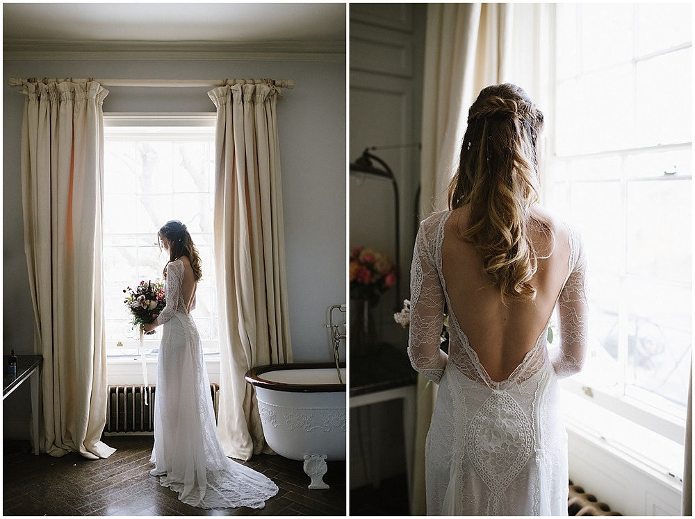 An intimate wedding at luxury wedding venue No131 Cheltenham with a Grace loves Grace wedding dress