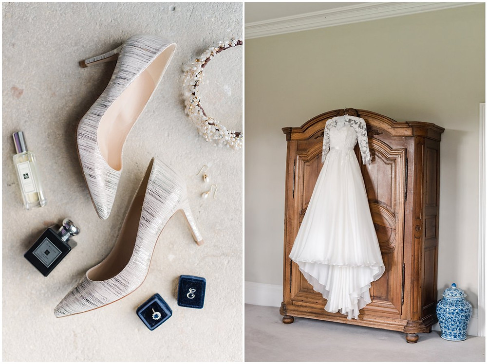 LK Bennet shoes a Suzanne Neville Dress and bespoke Jo Malone scent for a North Cadbury Court Wedding