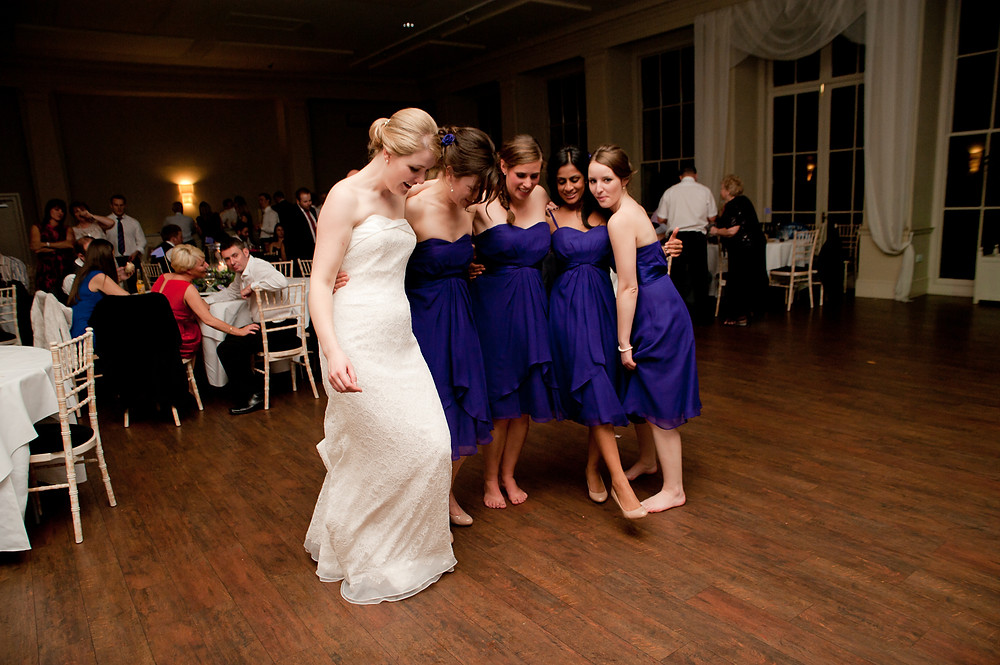 stubton hall wedding reception bride and bridesmaids dancing