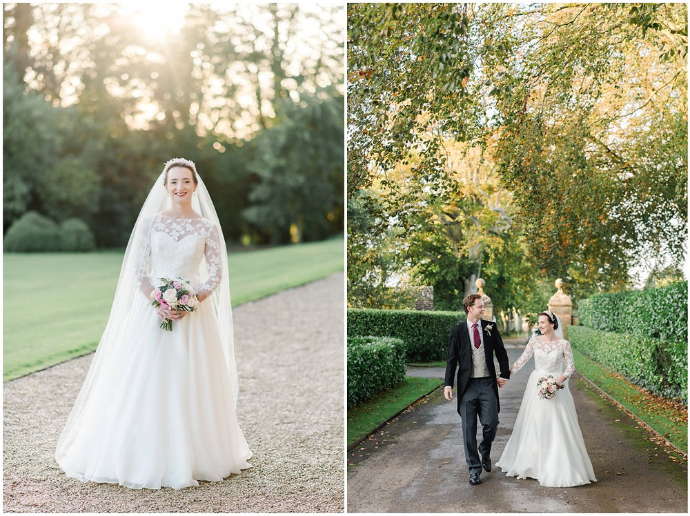 Elegant bride and groom at North Cadbury Court wedding