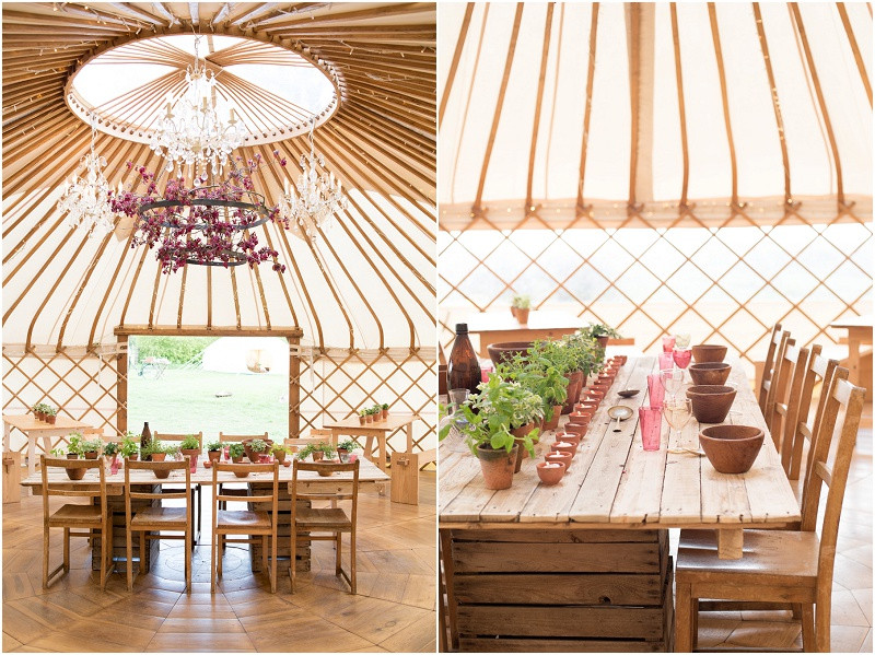 Eco friendly wedding yurt Cotswolds with foraged blossom and wooden tables