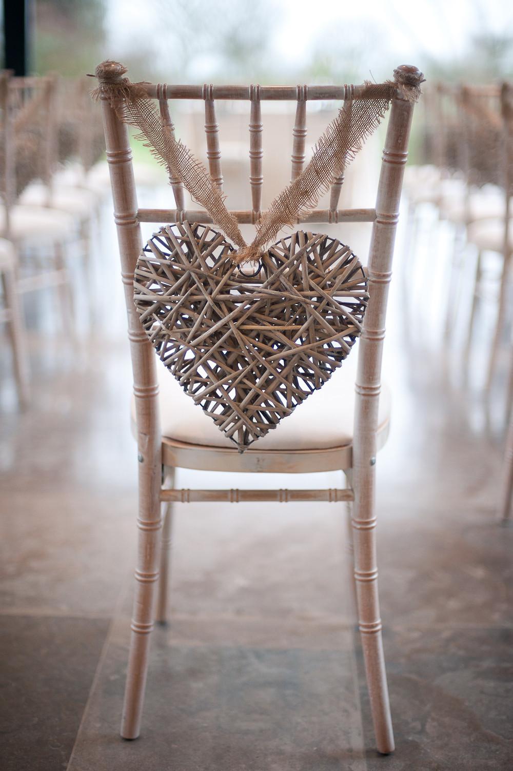 rustic heart wedding chair decor