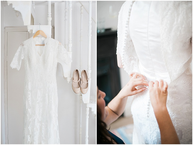 A handmade lace dress for a wedding at The Perch Inn, Oxfordshire