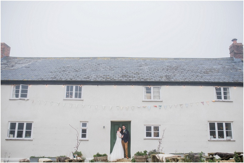 boho bride and groom at River Cottage wedding