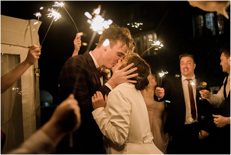 Sparklers Autumn boho wedding Hilles House Cotswolds
