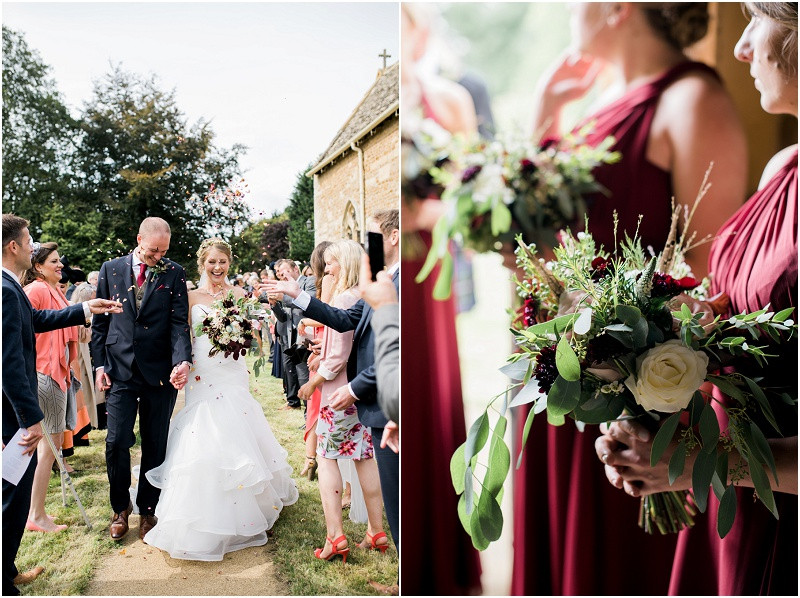 Cotswolds church wedding bride and groom confetti exit and bouquets