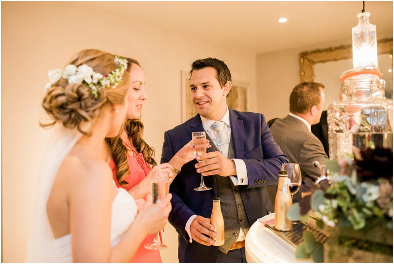 Wedding guests at Blackwell Grange wedding venue by Gloucestershire wedding photographer
