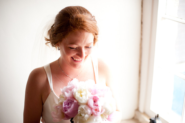 bride with peonies