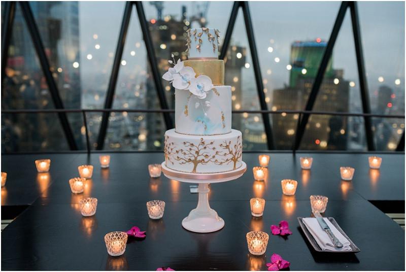 The Gherkin London wedding photographer winter wedding elegant cake