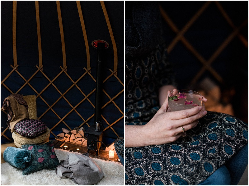 winter wedding styling in the Cotswolds - featuring thatchers gin, rose and cardamom cocktails