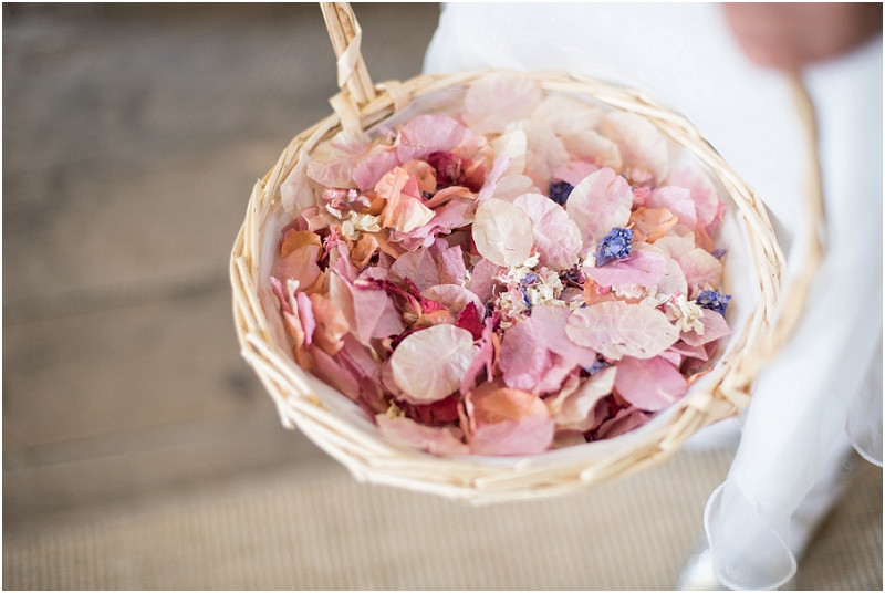 Natural petals confetti London wedding The House Mill