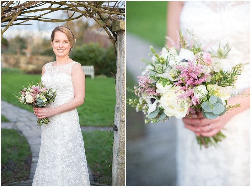 Bride with bouquet and lace dress for a wedding at The Moonraker, Wiltshire