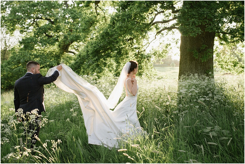 An elegant summer wedding at Pennard house in Somerset bride and groom at Somerset