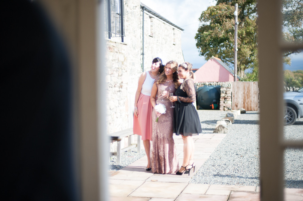 Wedding guests at The Outbuildings, Anglesey