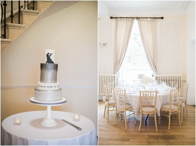 An elegant Cotswolds wedding at Eastington Park with an art deco cake and white hydrangeas