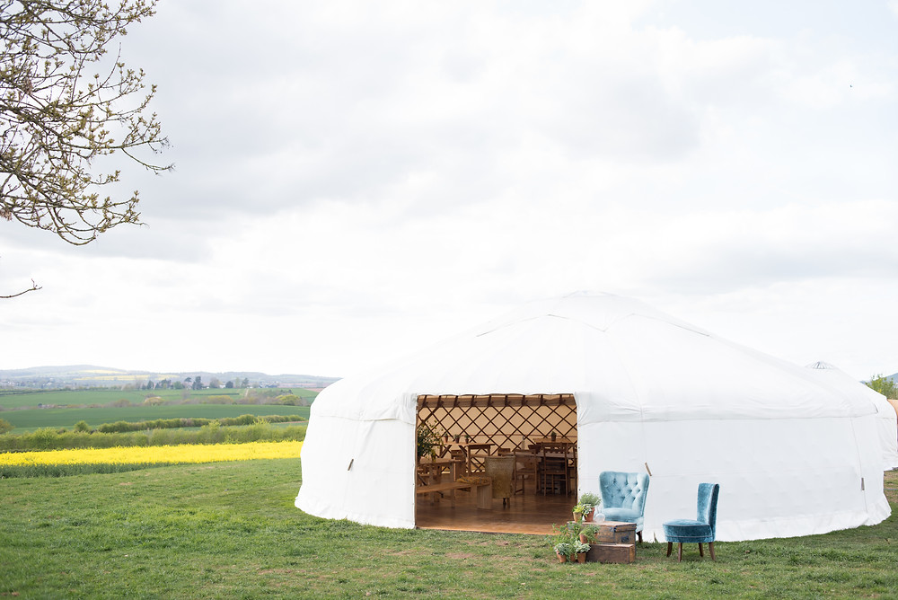 Cotswolds wedding yurt for boho outdoor wedding