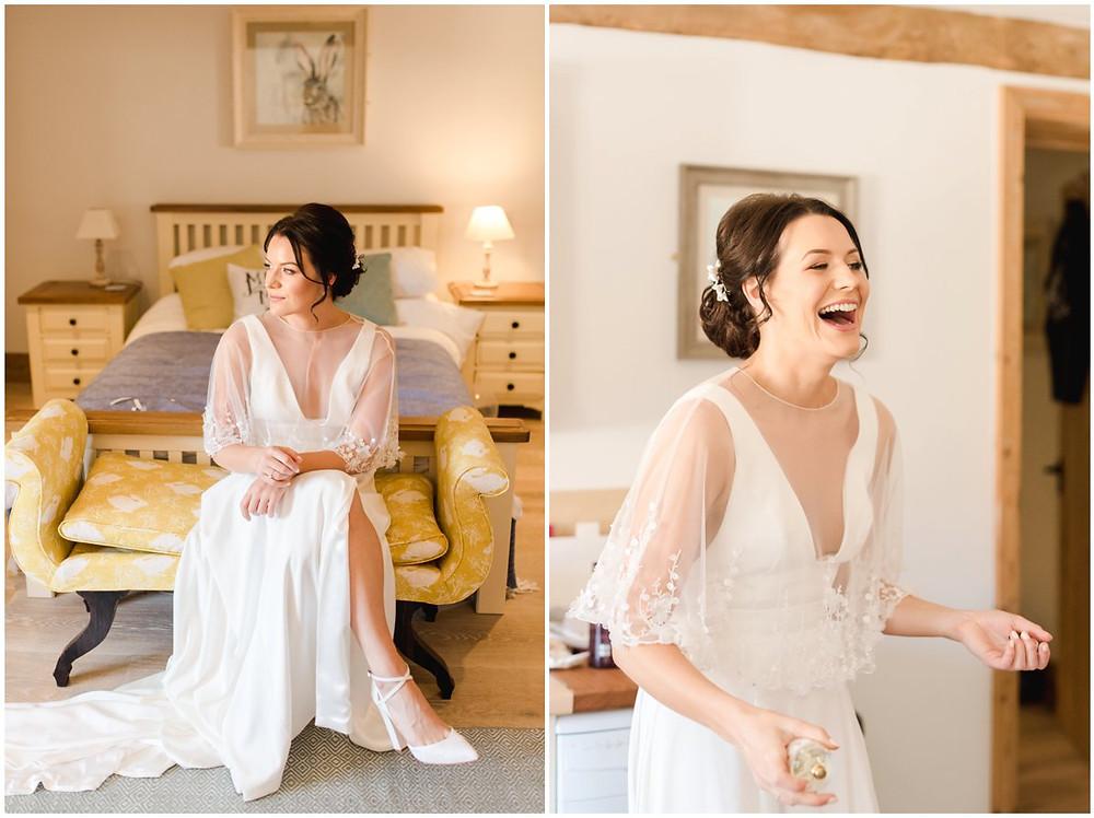 Bride getting ready at MIckleton Hills Farm wedding venue
