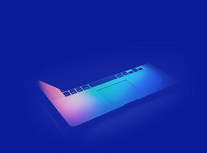 pulse360 Ordinateur portable sur fond bleu.webp