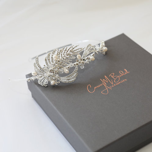 brides hair comb silver