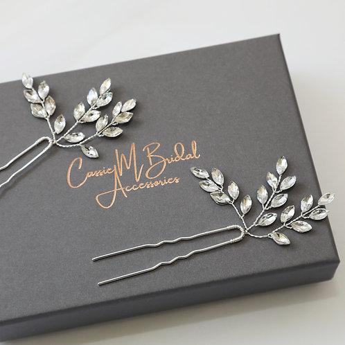 set of crystal hair pins