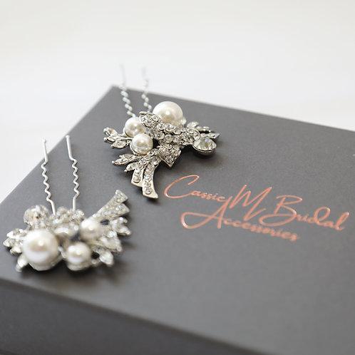 bride pearl and crystal hair pins