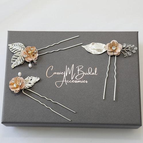 rose gold and blush hair pins
