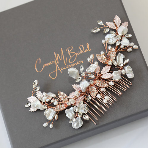 rose gold and pearl hair comb