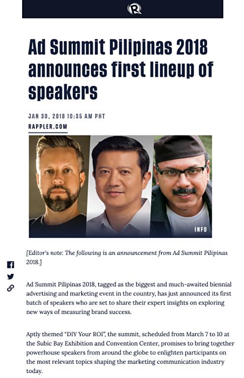 Ad Summit Pilipinas 2018 announces speakers