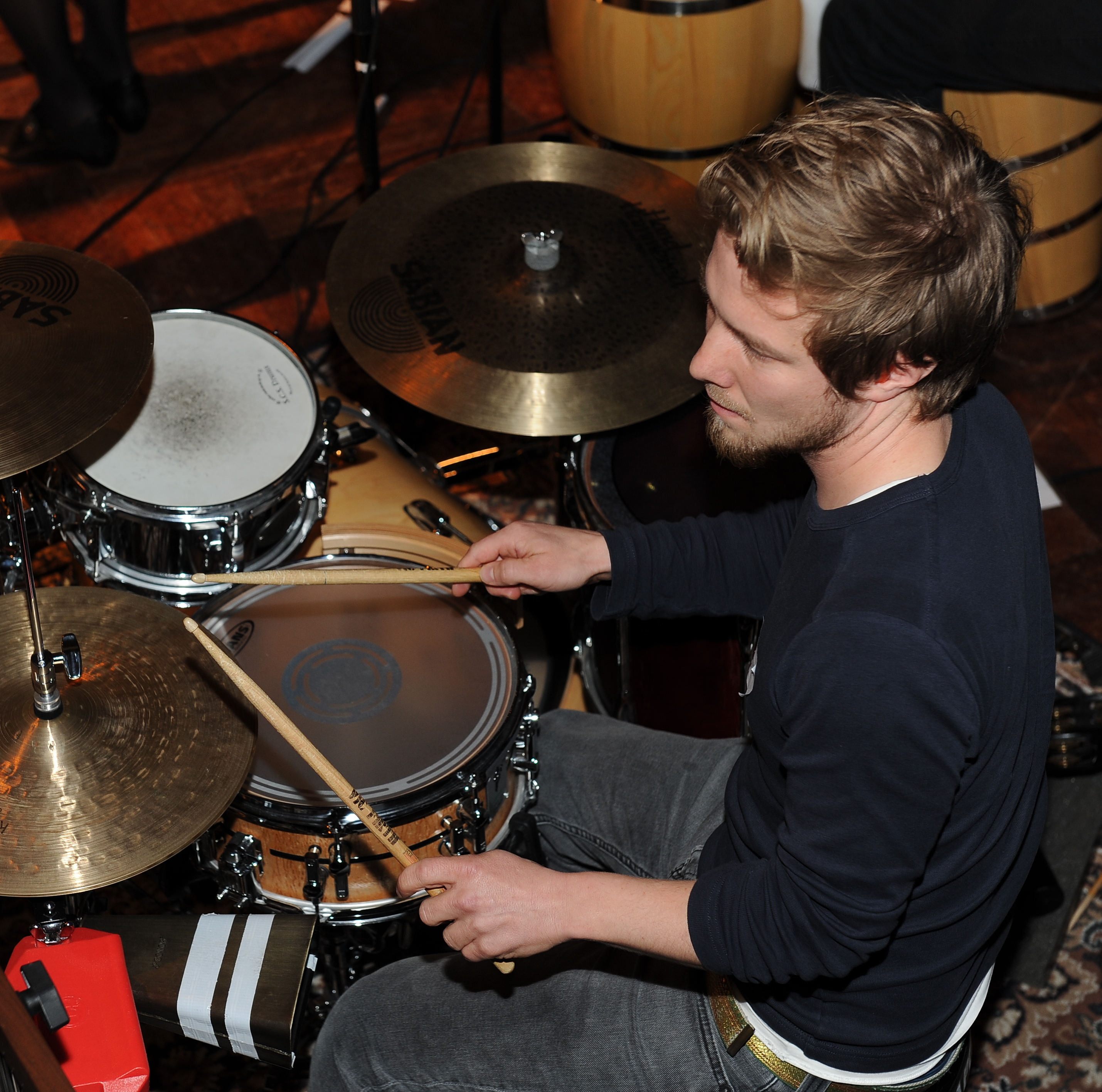 Simon on drums