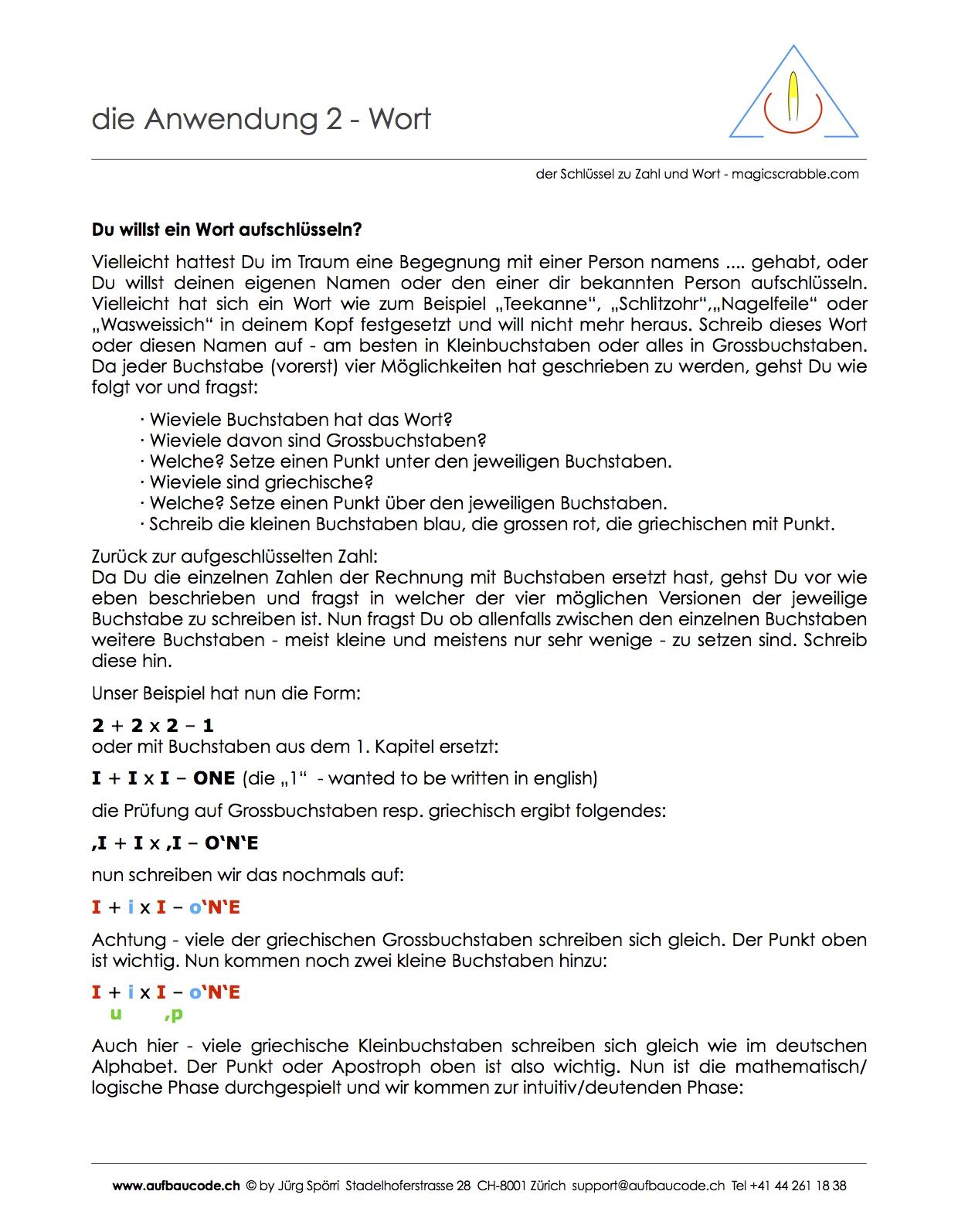 Aufbaucode - Anwendung 2 - Wort