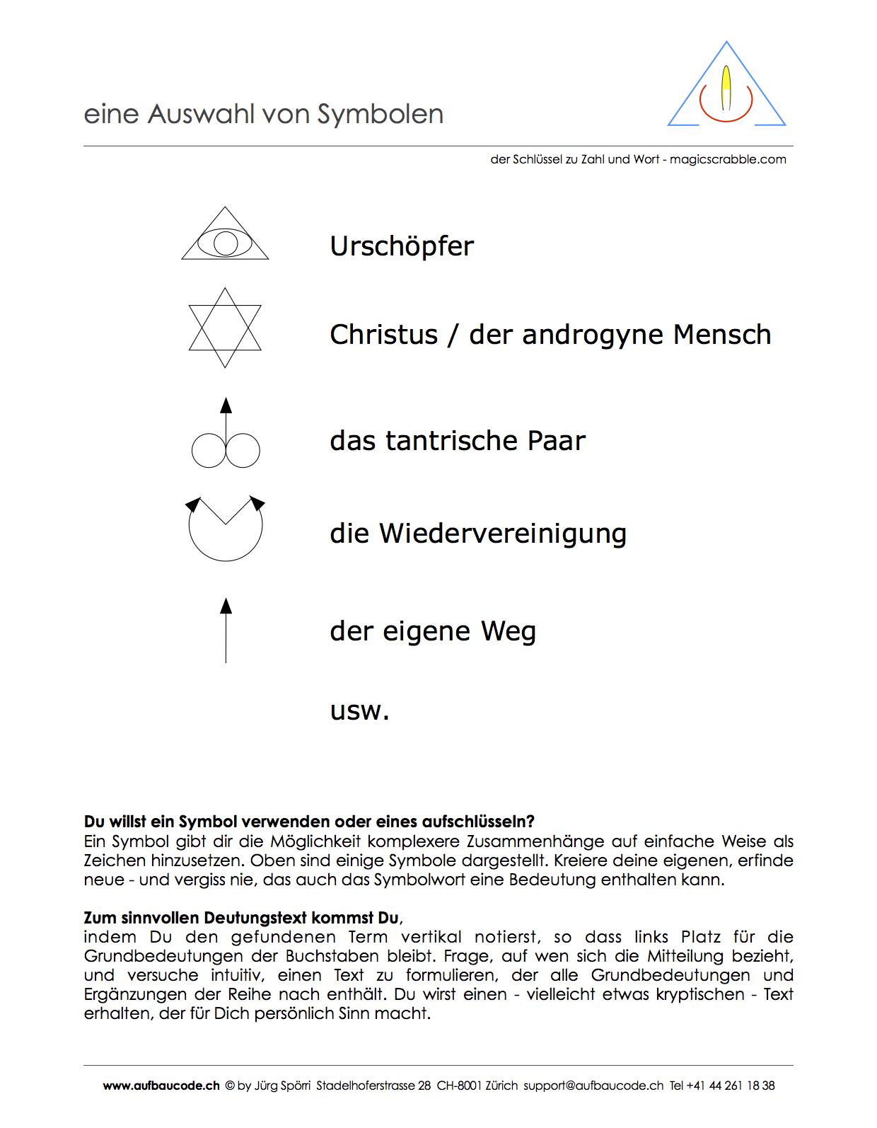 Aufbaucode - Symbole